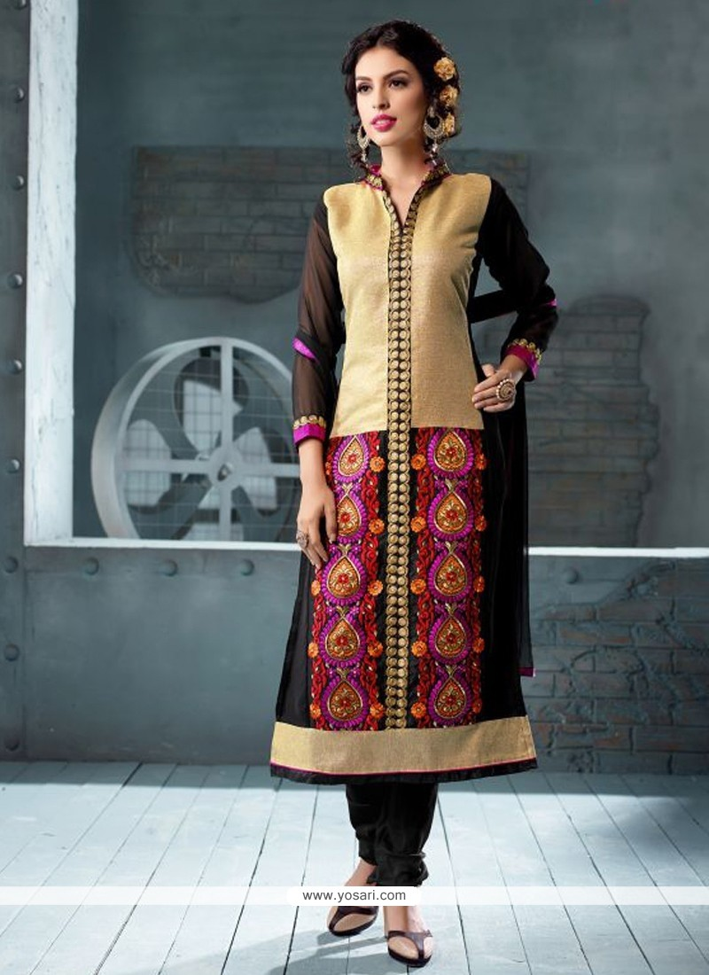 Black And Beige Georgette Churidar Suit