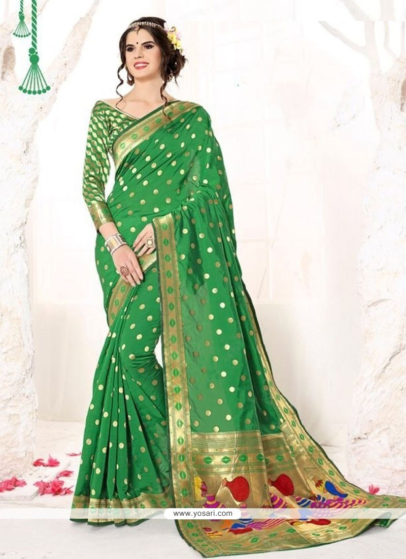 Whimsical Patch Border Work Green Classic Designer Saree