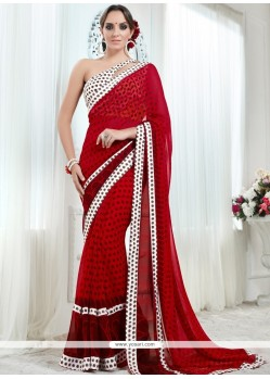 Gleaming Red Georgette Printed Saree