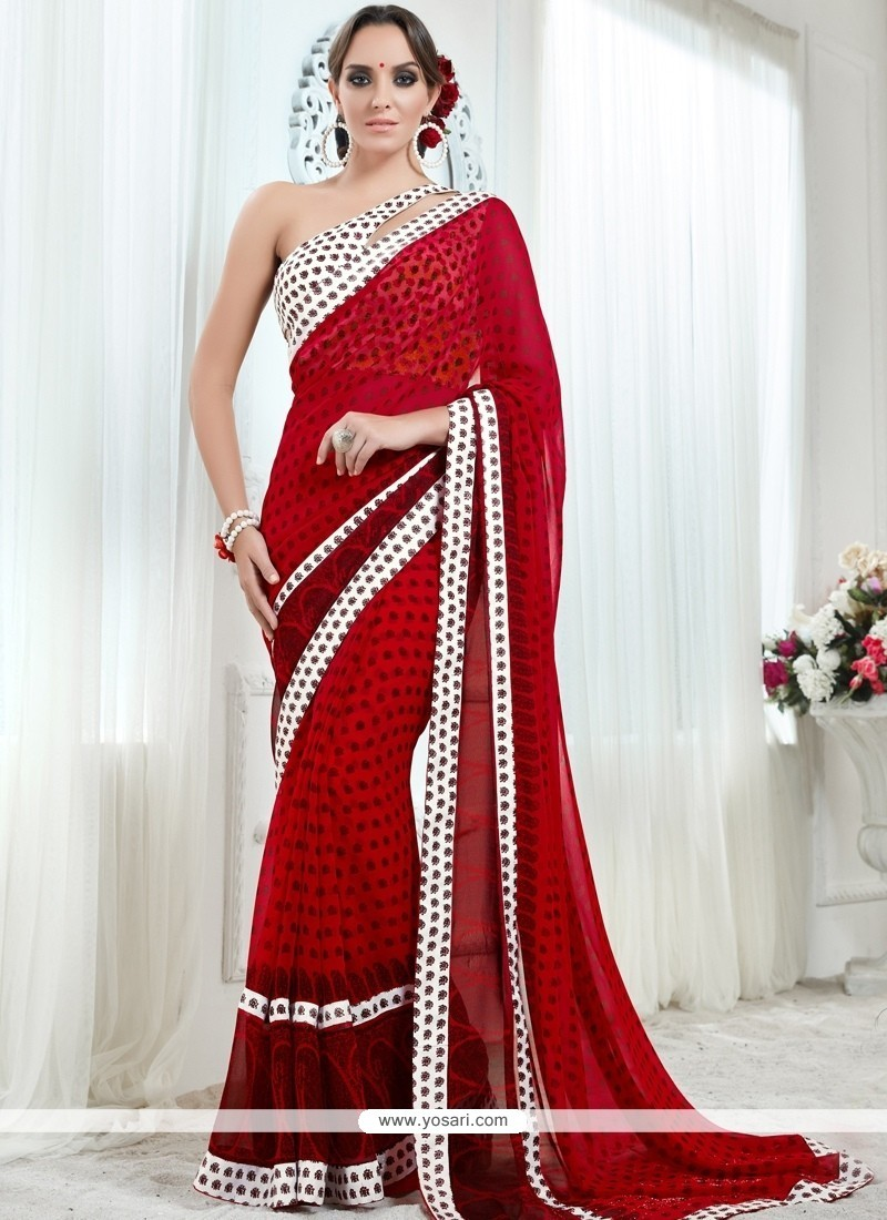 Gleaming Red Georgette Printed Saree