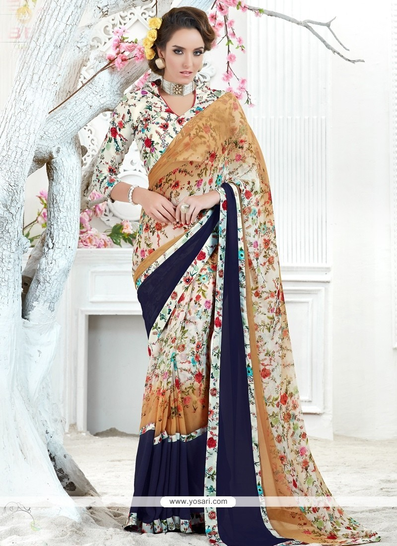 Modest Georgette Multi Colour Printed Saree