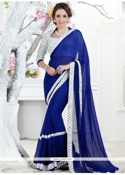 Blue Print Work Georgette Printed Saree