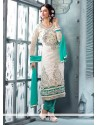Elite Off White Georgette Churidar Salwar Kameez