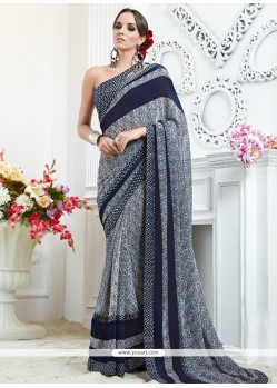 Sorcerous Grey Georgette Printed Saree