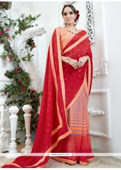 Glowing Print Work Red And Rose Pink Printed Saree