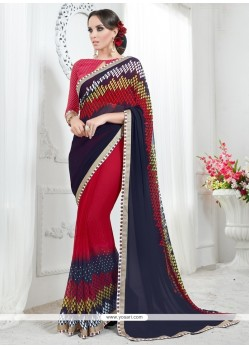 Ideal Georgette Print Work Printed Saree