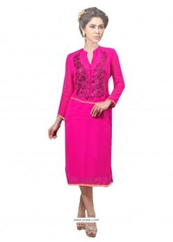 Especial Print Work Georgette Hot Pink Party Wear Kurti
