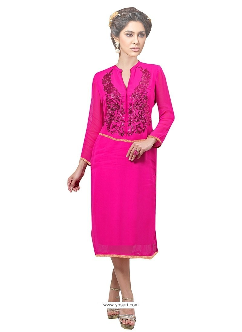 Especial Print Work Georgette Hot Pink Party Wear Kurti