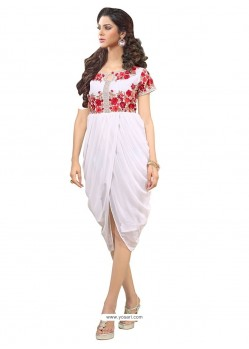 Mod Georgette Off White Party Wear Kurti