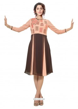 Appealing Print Work Brown Georgette Party Wear Kurti