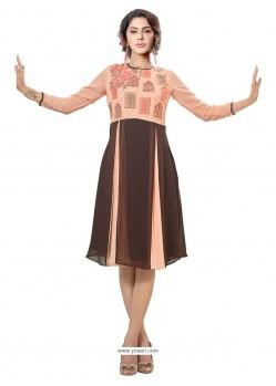 Appealing Print Work Brown Georgette Party Wear Kurti