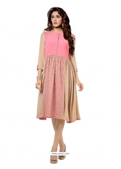 Urbane Georgette Pink Print Work Party Wear Kurti