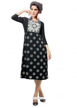 Titillating Print Work Black Party Wear Kurti
