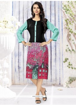 Royal Rayon Multi Colour Print Work Party Wear Kurti
