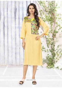 Snazzy Print Work Rayon Cream Party Wear Kurti