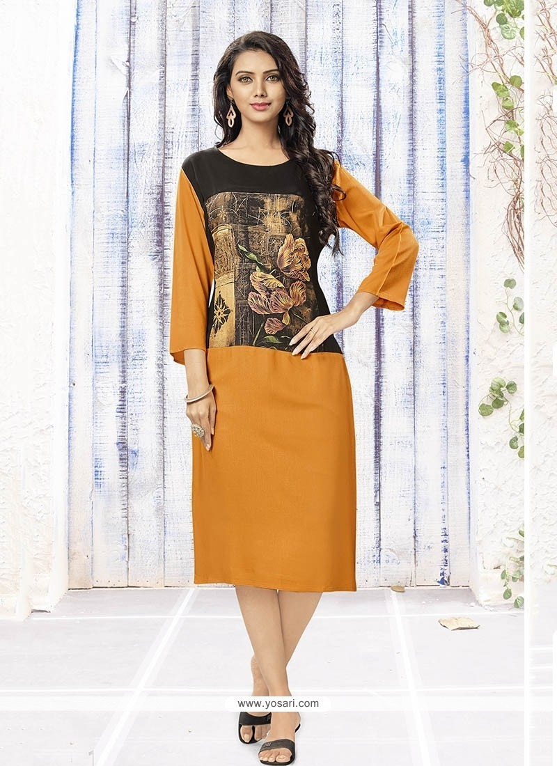 Sensational Print Work Rayon Party Wear Kurti