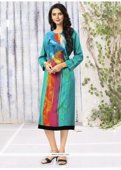 Aspiring Print Work Rayon Multi Colour Party Wear Kurti