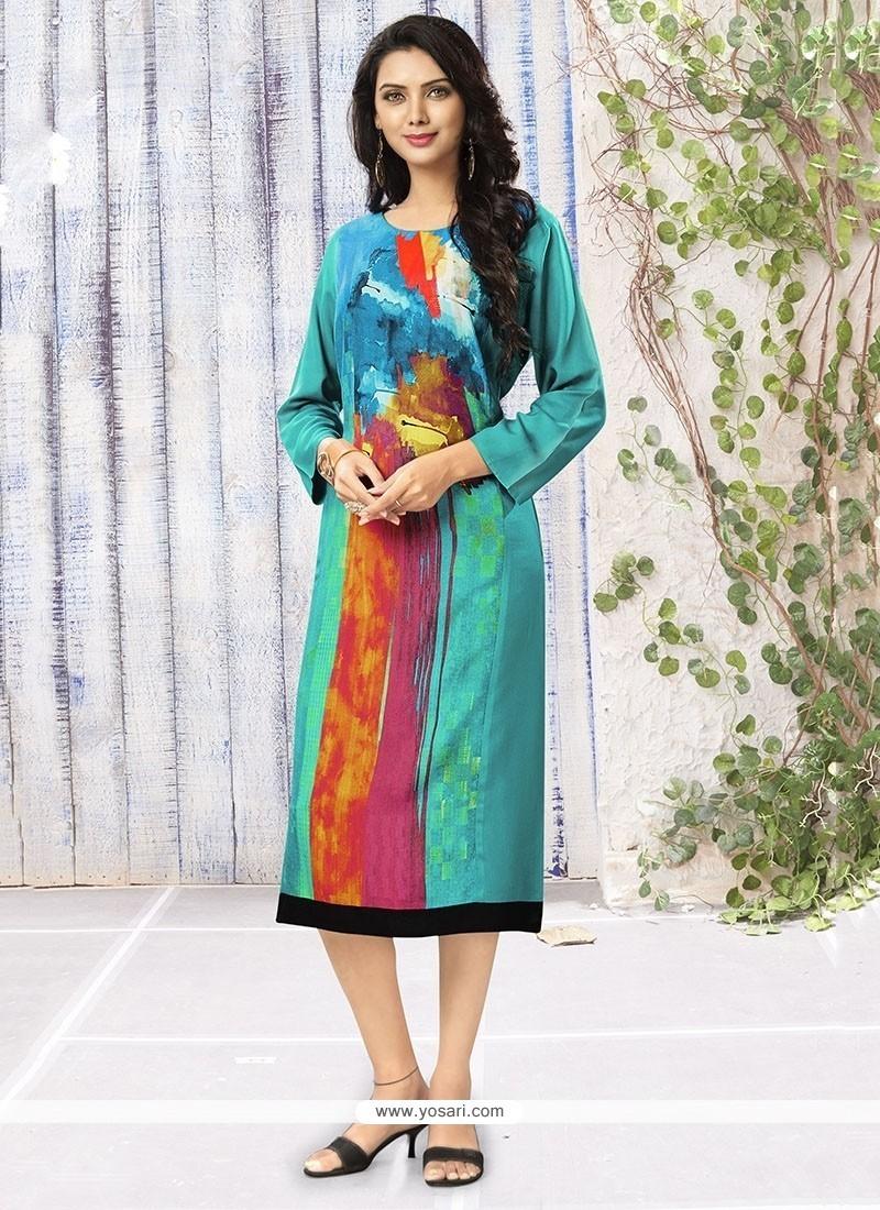 Aspiring Print Work Rayon Multi Colour Party Wear Kurti