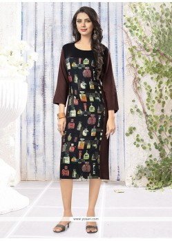 Preferable Print Work Black Party Wear Kurti