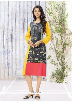 Dainty Beige And Multi Colour Party Wear Kurti