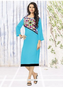 Intrinsic Rayon Turquoise Party Wear Kurti
