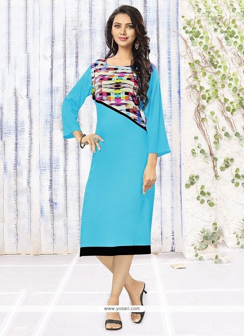Intrinsic Rayon Turquoise Party Wear Kurti