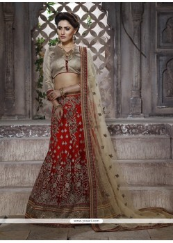 Celestial Embroidered Work Red Net Lehenga Choli