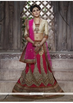 Eye-catchy Net Hot Pink Patch Border Work Lehenga Choli
