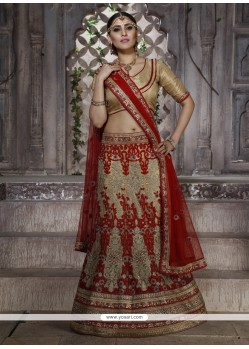 Intrinsic Net Red Resham Work Lehenga Choli
