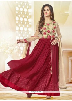 Majesty Maroon Embroidered Work Georgette Anarkali Salwar Kameez