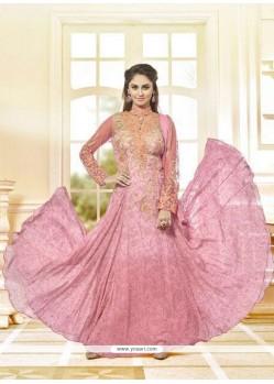 Lovely Georgette Pink Anarkali Salwar Kameez