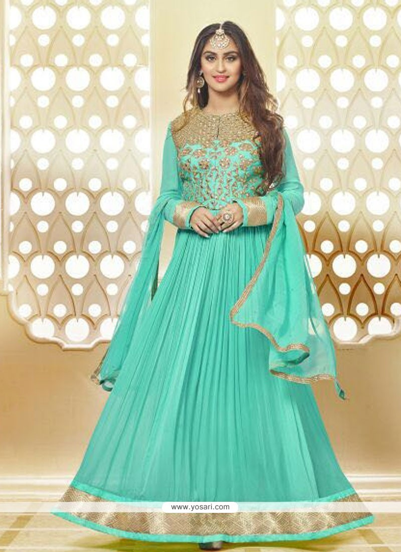 Buy Staring Georgette Sea Green Anarkali Salwar Kameez | Anarkali Suits