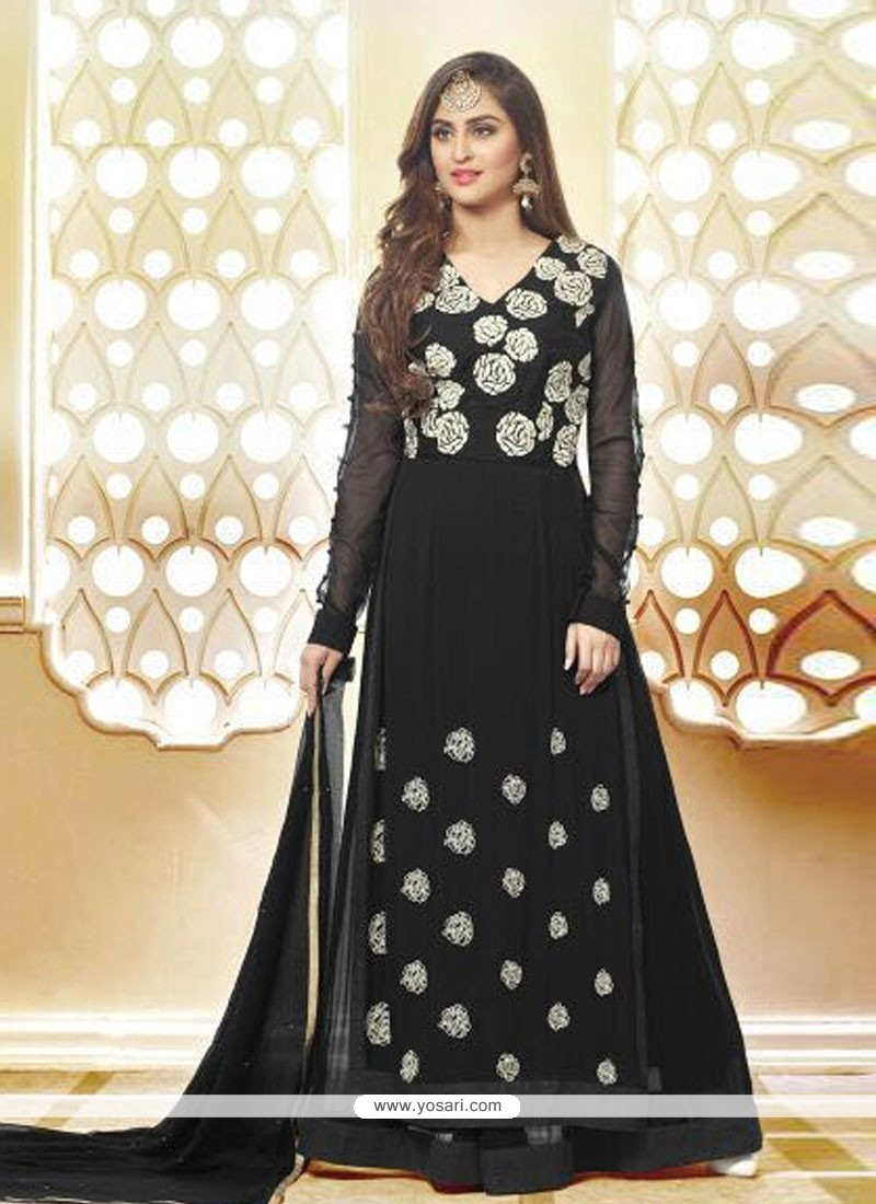 Opulent Resham Work Black Anarkali Salwar Kameez