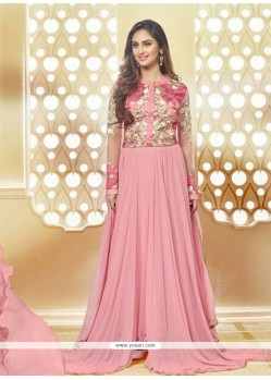 Eye-catchy Georgette Pink Embroidered Work Anarkali Salwar Kameez