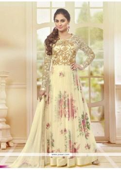 Superlative Yellow Lace Work Anarkali Salwar Kameez