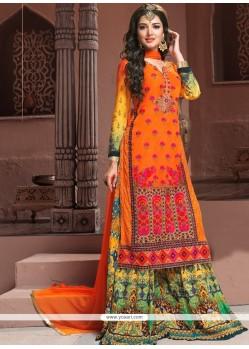 Mystical Georgette Orange Designer Palazzo Salwar Kameez