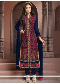 Eye-catchy Embroidered Work Churidar Designer Suit