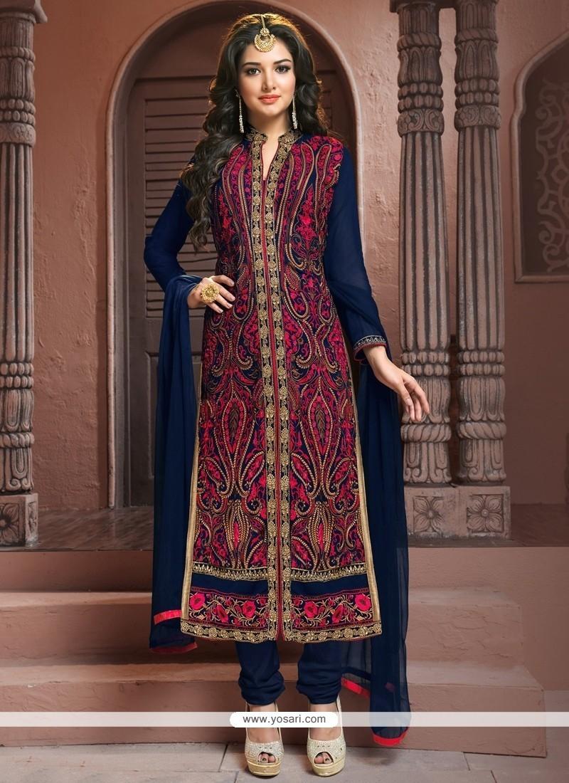 Eye-catchy Embroidered Work Churidar Designer Suit