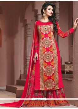 Embroidered Georgette Designer Palazzo Salwar Kameez In Hot Pink