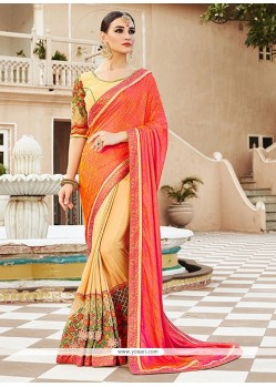 Zesty Cream And Pink Georgette Designer Saree