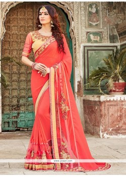 Girlish Embroidered Work Pink Designer Saree