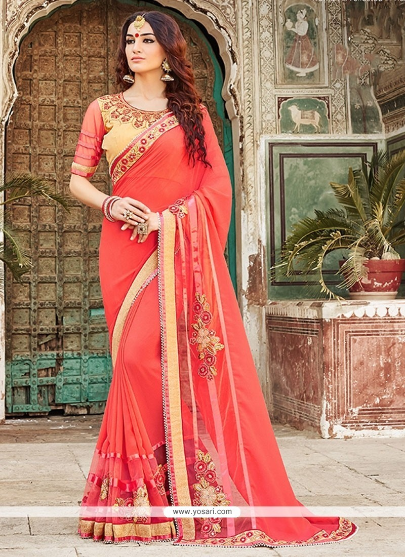 Girlish Embroidered Work Pink Designer Saree