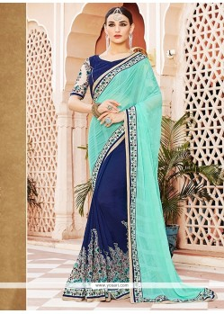 Mesmeric Blue Zari Work Georgette Designer Saree