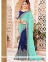 Mesmeric Blue Zari Work Georgette Designer Saree