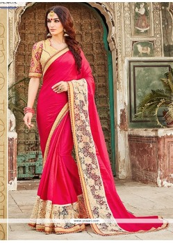 Urbane Hot Pink Patch Border Work Georgette Designer Saree