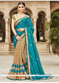 Distinctive Silk Cream Embroidered Work Designer Saree