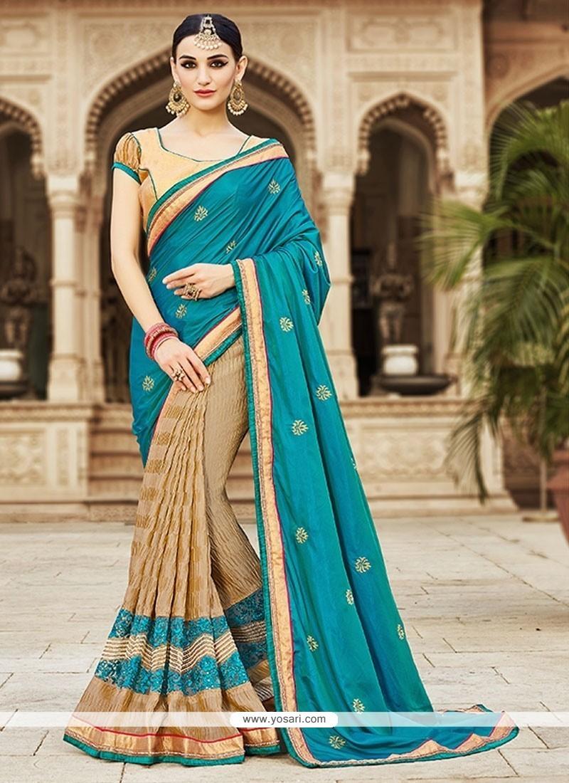 Distinctive Silk Cream Embroidered Work Designer Saree