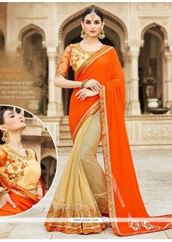 Jazzy Georgette Lace Work Designer Saree