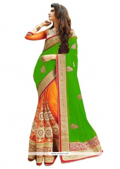 Chic Zari Work Green And Orange Half N Half Designer Saree