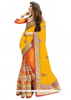 Precious Orange And Yellow Half N Half Designer Saree